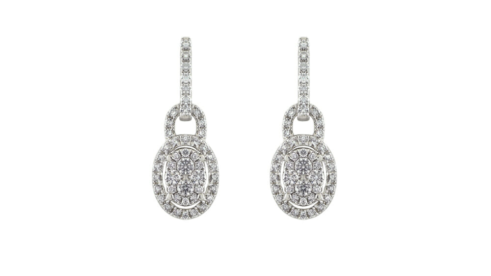 oval pave drop diamond earrings