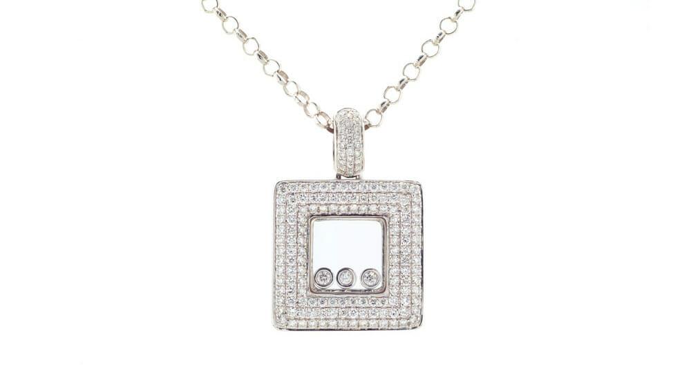 White gold floating square, 3 diamond, diamond pendant