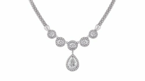 Pear and Round Necklace | Diamond necklace with round and Pear Shapes