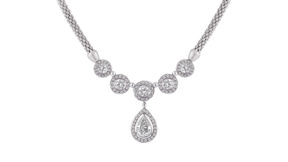 Pear and Round Diamond Necklace