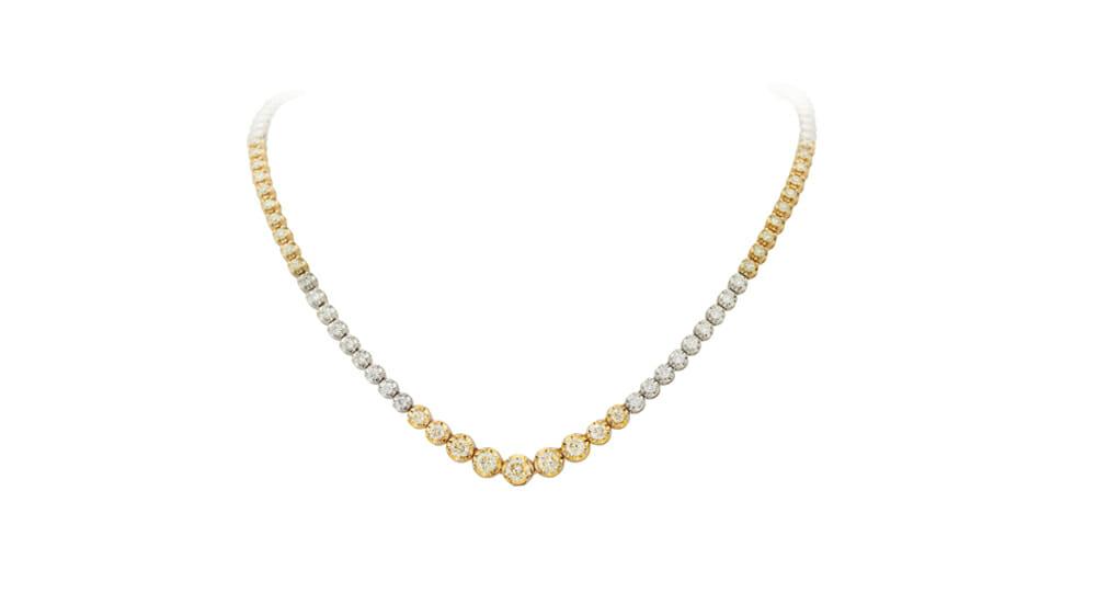 Whiteand Yellow Diamond Tennis Necklace