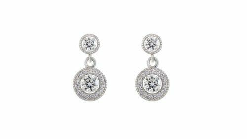 Round halo diamond drops