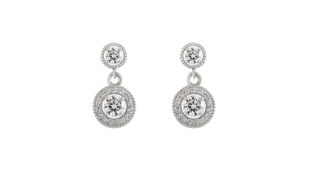 Round halo diamond drops