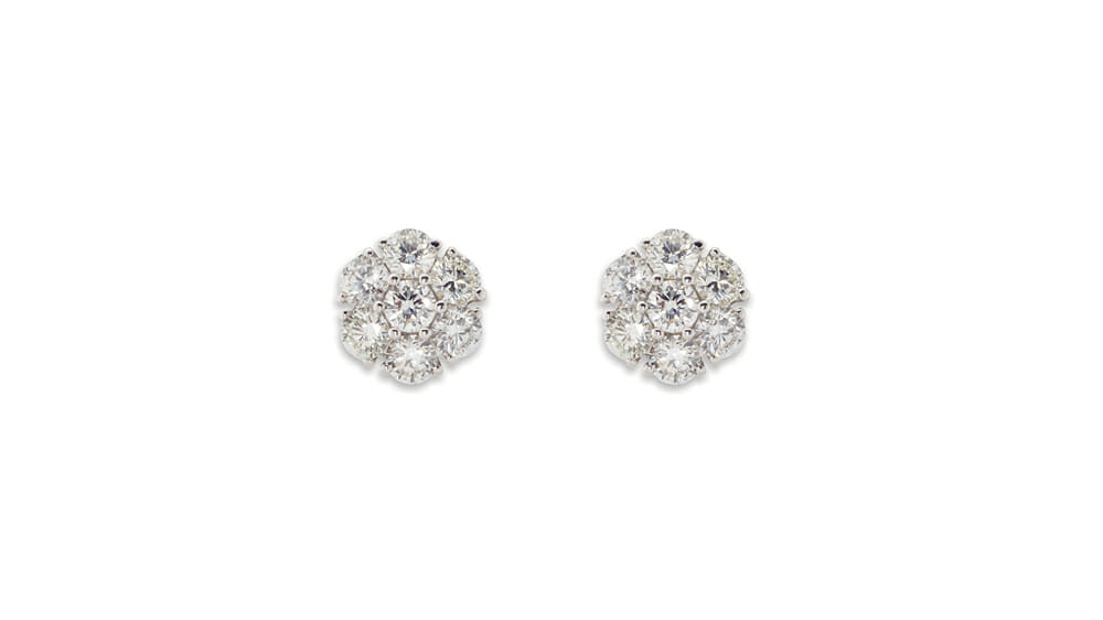 snowflake cluster diamond earrings