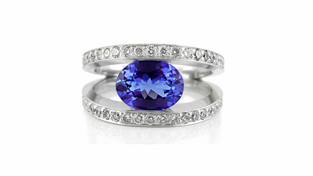 Rare African Tanzanite and Diamond SPlit Shank Ring