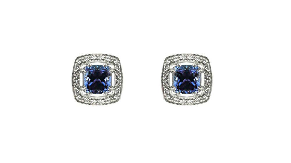 Cushion Tanzanite & Diamond Halo Earrings