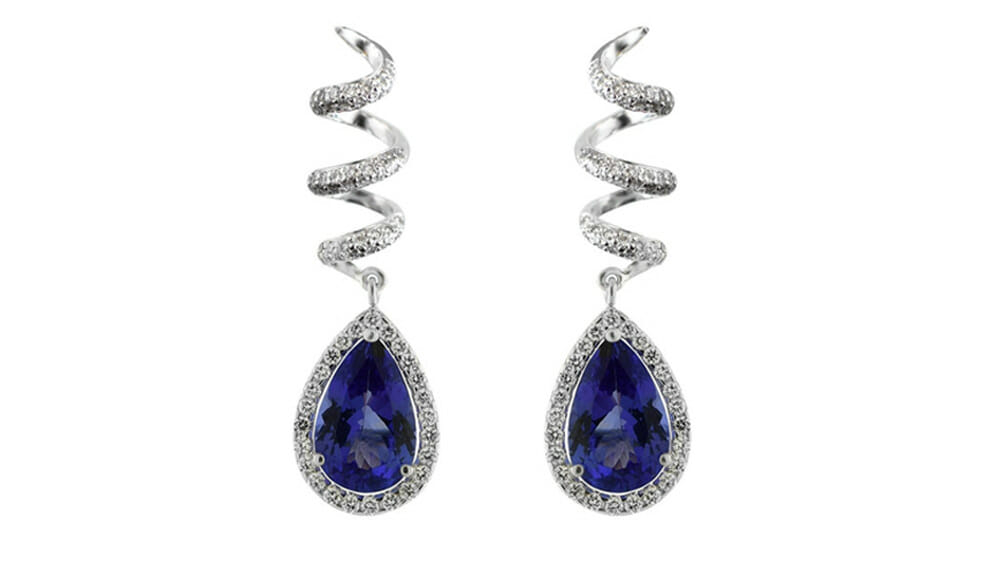 Tanzanite and Diamond | Beautiful Graduated Spiral Drop Earrings