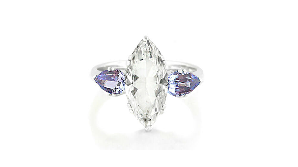 Rare African Tanzanite and White Topaz Ring | Marquise cut white topaz and two side tanzanites set in white gold