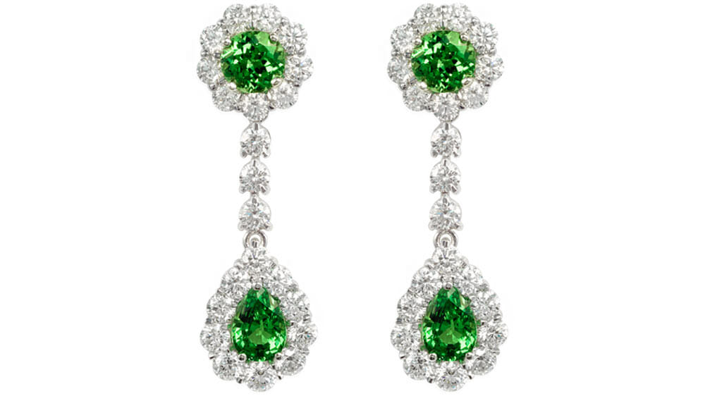 Teardrop Rare Tsavorite and diamond drops | Set in 18 carat white gold