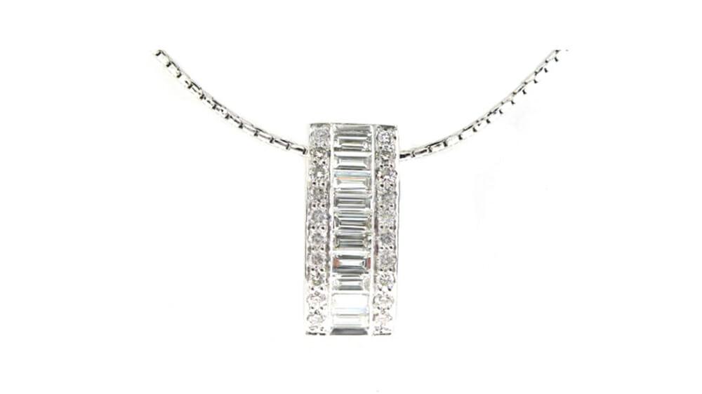 Baguette eternity bar diamond pendant