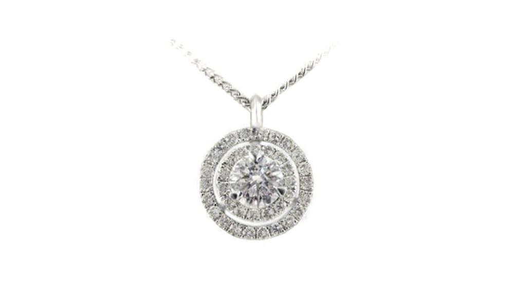 Double halo diamond pendant