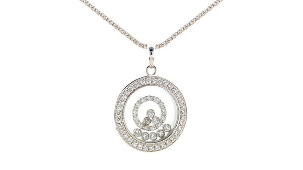 Floating diamond circle pendant