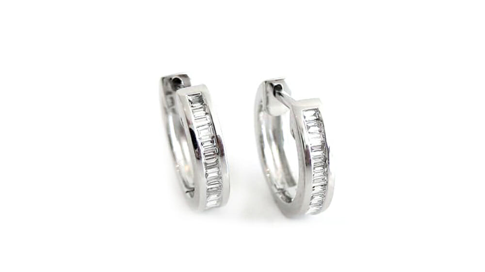 Diamond Earrings | Baguette Diamond Hoop Earrings.