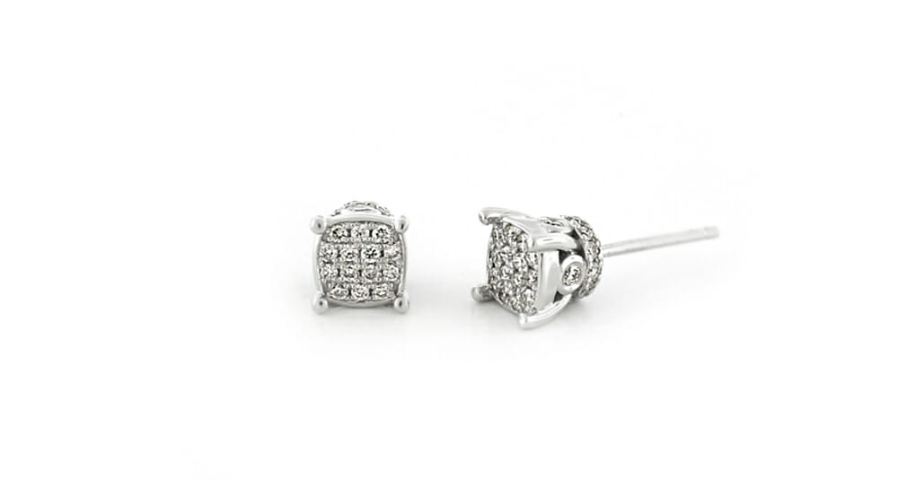 Diamond Earrings | Cushion cluster diamond studs