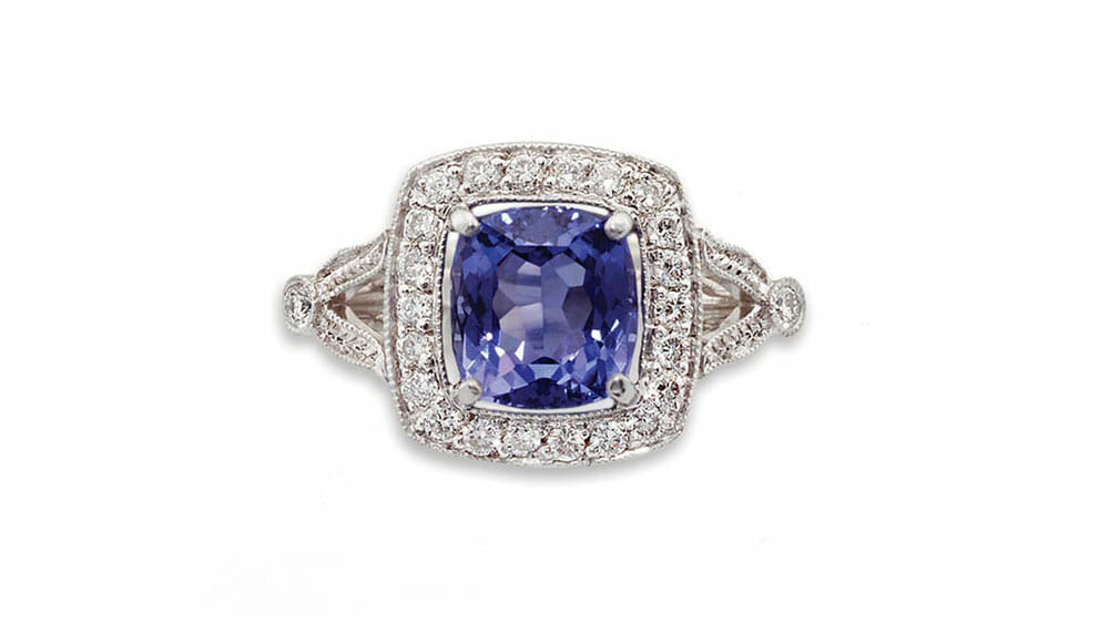 Tanzanite & Diamond Ring | Cushion Tanzanite & Diamond Halo Ring