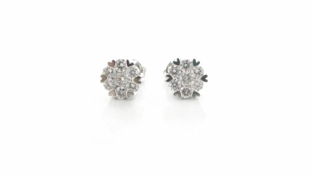 Diamond Earrings | Clustered diamond earrings