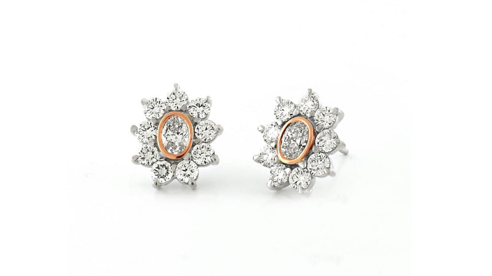 Diamond Earrings | Oval and round halo cluster diamond earrings