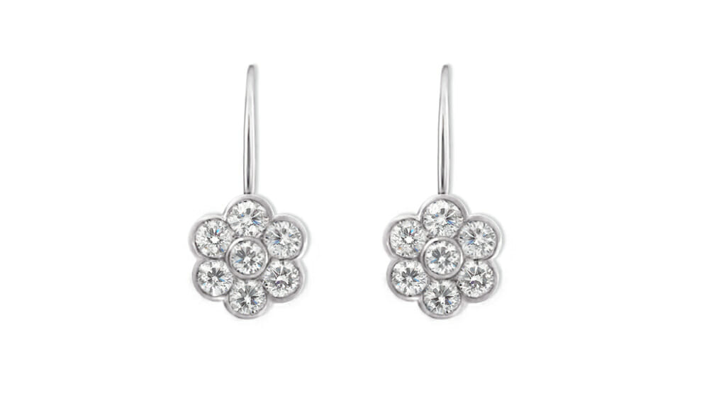 Flower Diamonds | Small Flower Shaped Drop Earrings