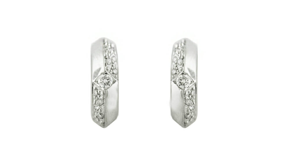 Diamond Earrings | Hoop shaped earrings with diamonds.