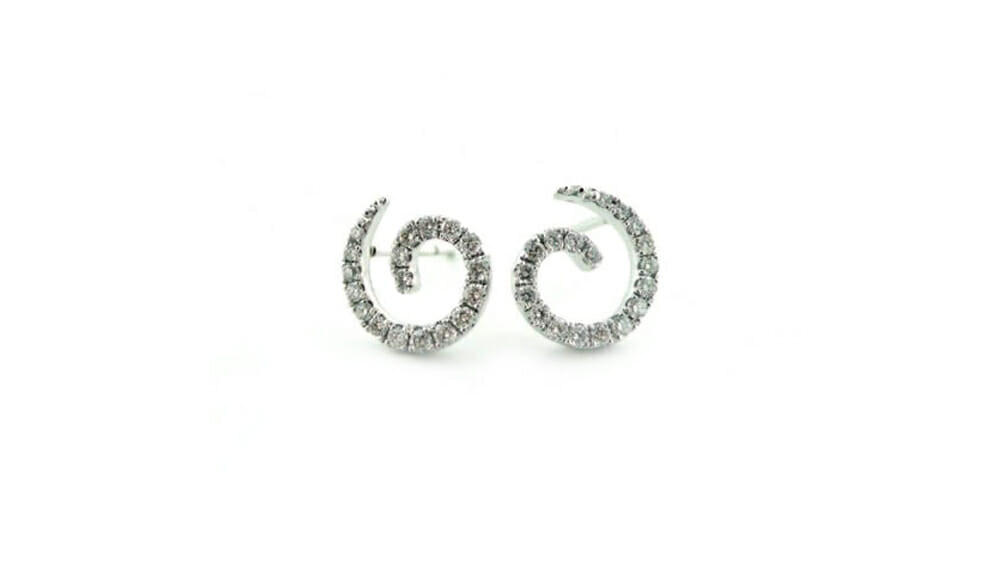 Diamond Earrings | Swirl shaped earrings with diamonds.