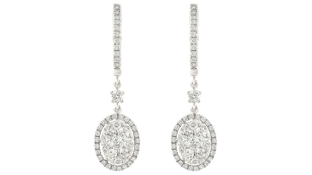Diamond Earrings | Oval pave diamonds drops