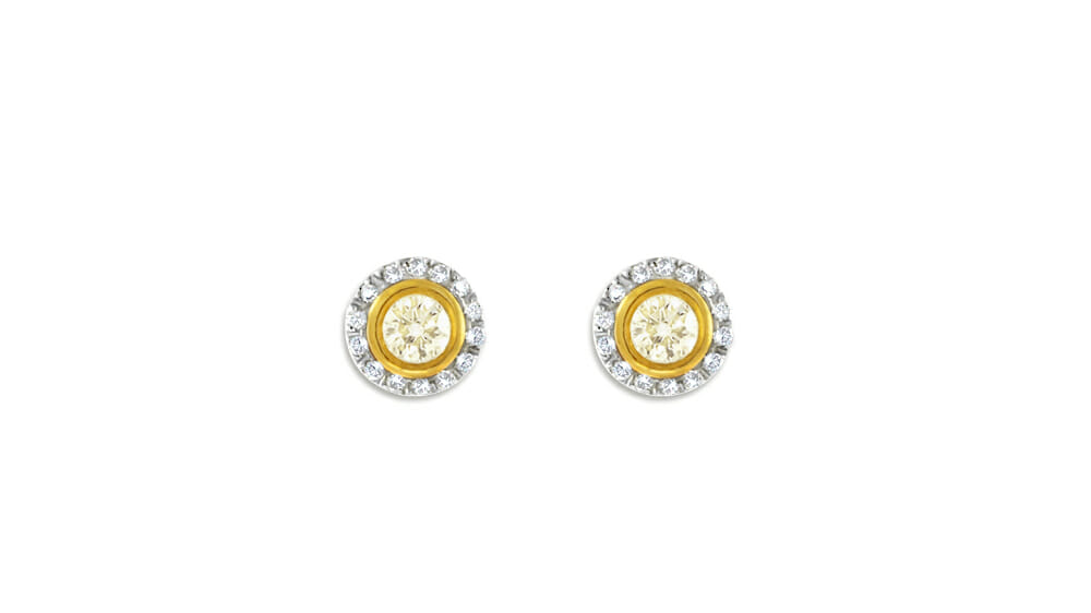 Cape Yellow & White Diamond Halo Studs | Small and Circular earring studs.