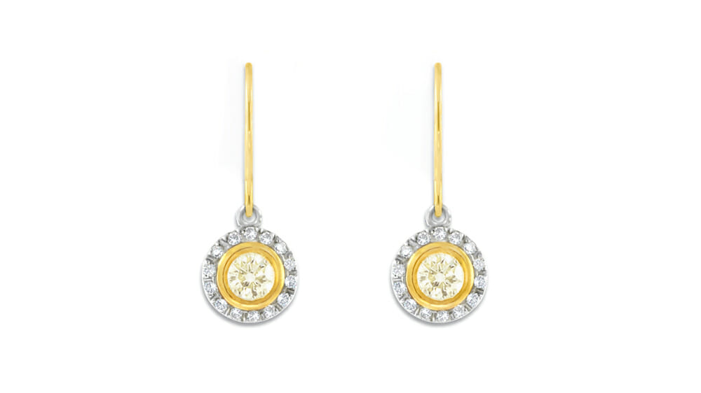Cape Yellow & White Diamond Halo Drops | Small and Circular drop earings.