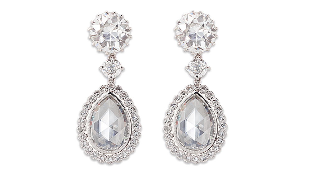 Rose Cut & Old Cut Diamond Drop Earrings | A beautiful pair of pear and round diamond drop earrings in an antique-style design