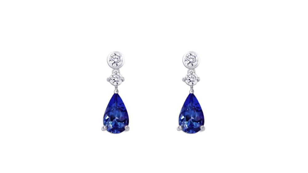 Pear Tanzanite and Diamond Angel Earrings | Pear Shaped Tanzanite and Round Diamond Earrings