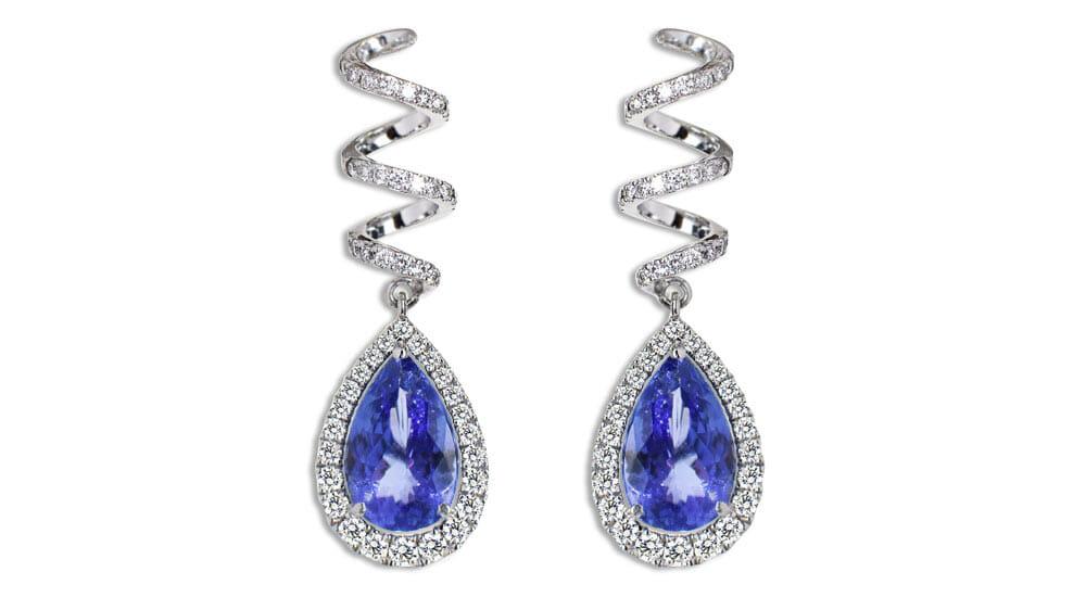Rare Tanzanite and Diamond | Beautiful Graduated Spiral Drop Earrings