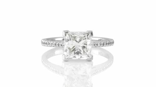 Solitaire Ring | Princess Cut with Micropavé Band