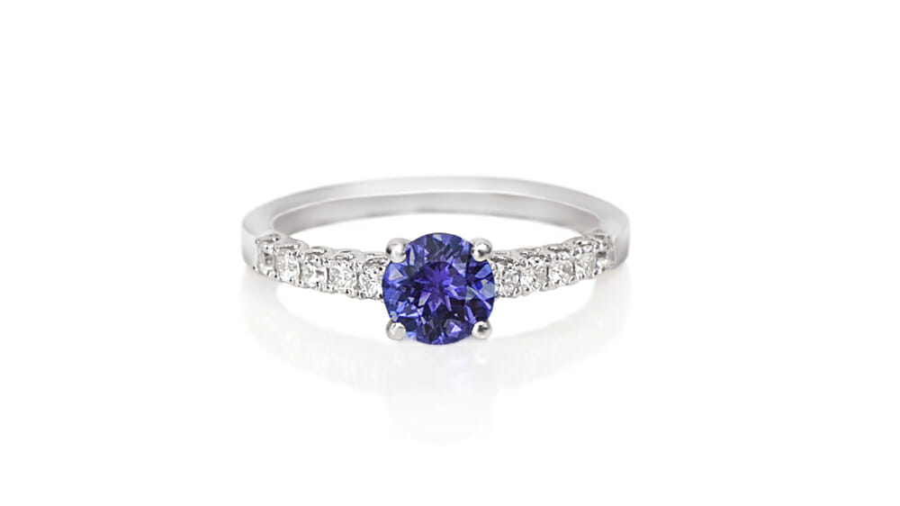 Rare African Tanzanite & Diamond Ring | Tanzanite ring with diamonds on the band.