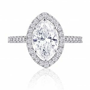 Marquise Diamond Halo Ring with Micro-Set Band | Marquise Halo Ring | Diamond Ring
