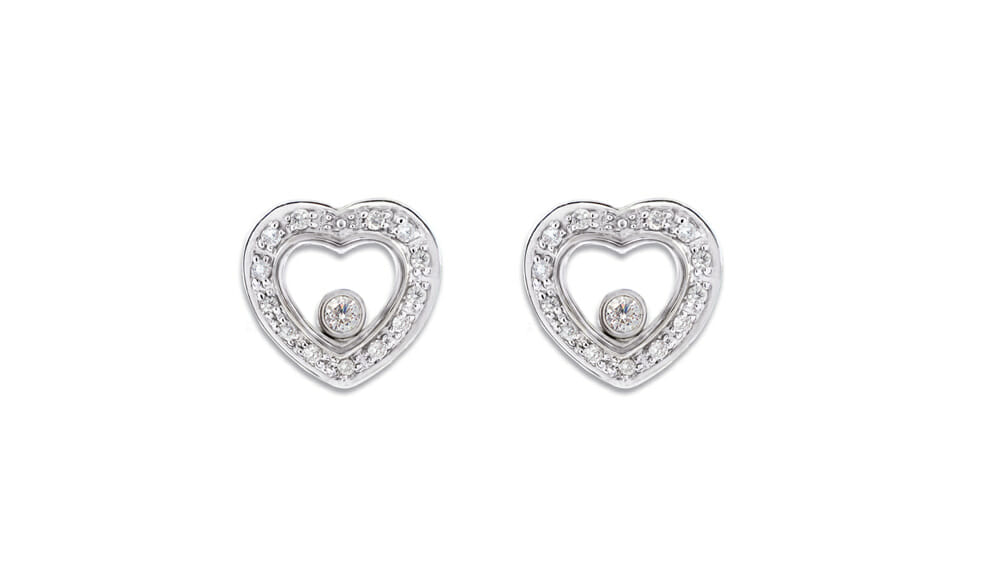 Floating Diamonds Heart Studs | Cute and small heart shaped stud earrings.