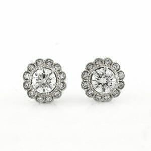 Floral Diamond Halo Earrings | Floral Diamond Halo Studs