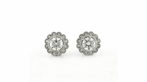 Floral Diamond Halo Earrings   Floral Diamond Halo Studs