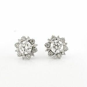 Diamond Floral Halo Earrings| Floral Diamond Halo Studs