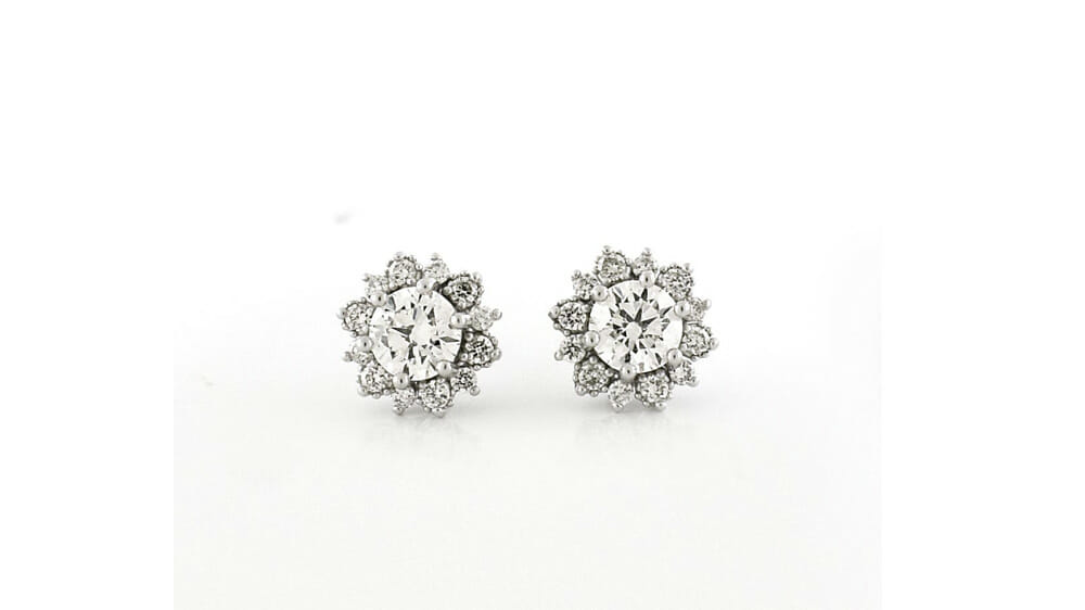 Diamond Earrings | Floral Diamond Halo Studs