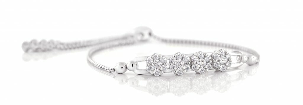 Slider bracelet set with round brilliant diamonds
