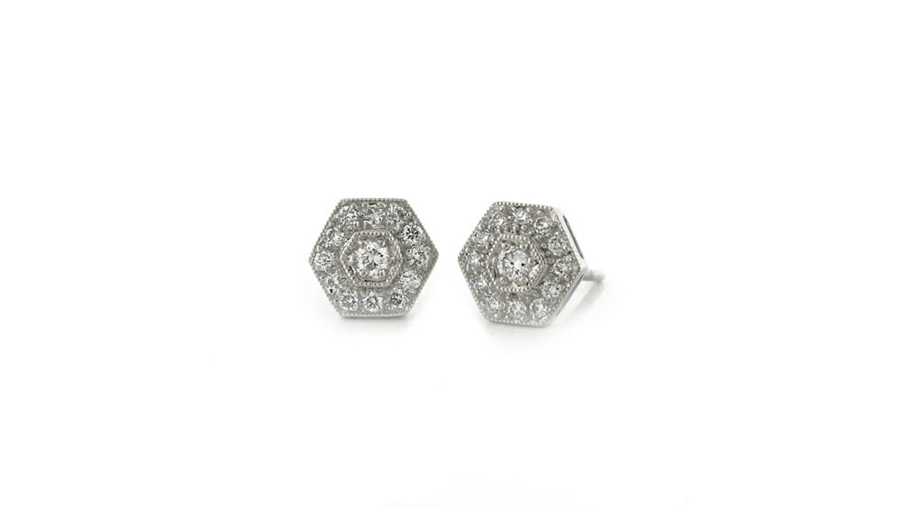 Diamond Earrings | Hexagon Diamond Studs