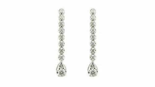 Long teardrop diamond earrings