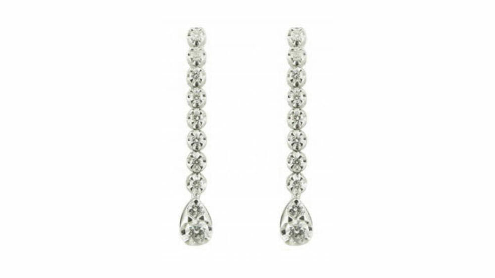 Long teardrop diamond earrings