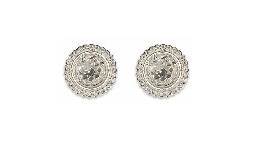 White Diamond Earrings | Rose cut diamond stud earrings.