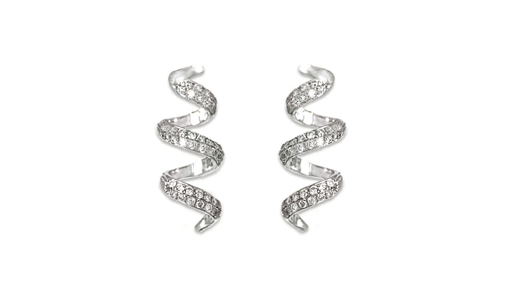 Spiral Shaped Drop Earrings | Beautiful drop earrings in a spiral shape with diamonds.