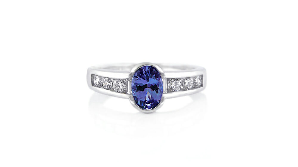 Rare African Tanzanite & Diamond Ring | Oval Tanzanite Diamond Ring