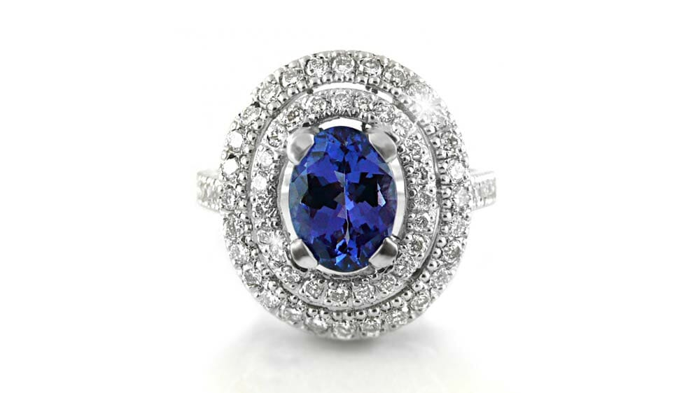 Rare African Tanzanite & Diamond Ring | Oval Tanzanite Double Halo Diamond Ring