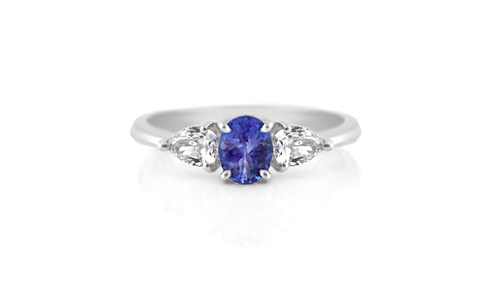 Tanzanite & Diamond | Oval Tanzanite & Pear Diamond Ring