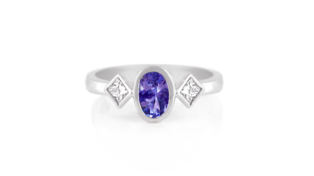 Rare African Tanzanite & Diamond Ring | Oval Tanzanite & Princess Diamond Ring