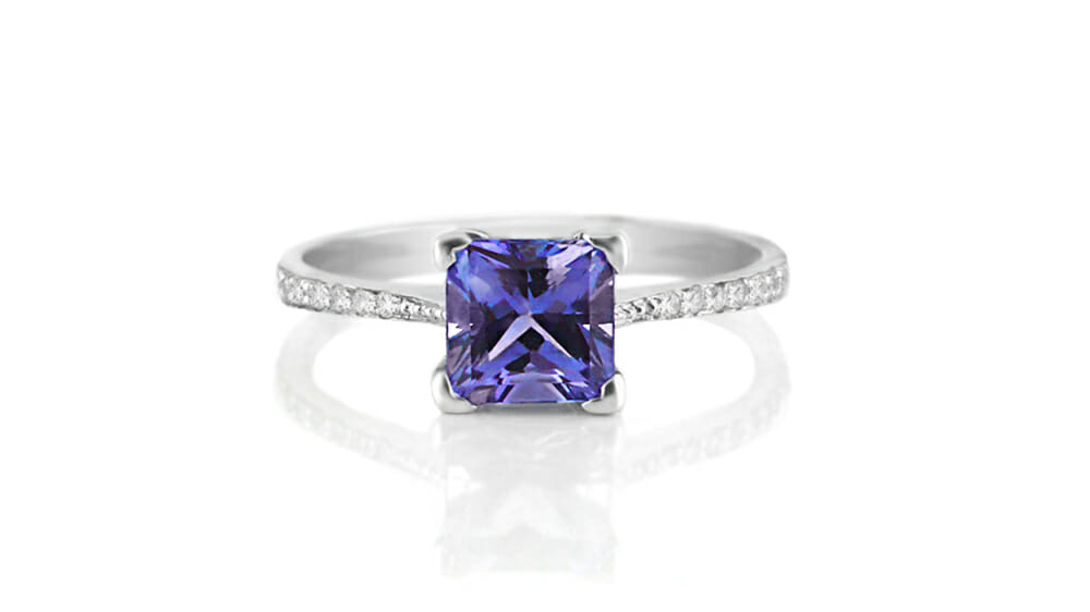 Tanzanite & Diamond Ring | Princess Cut Tanzanite & Diamond Ring