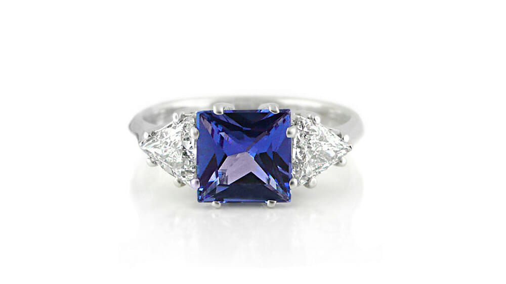 Rare African Tanzanite & Diamond Ring | Trilliant cut Tanzanite & Diamond Trilogy Ring